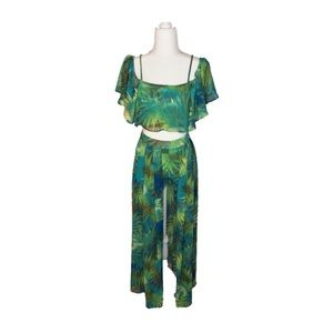(NWOT) Luxxel Tropical Greens Two Piece Set
